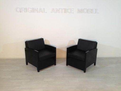 Art Deco Sessel, Hochglanz, Handpoliert, Anilinleder weich gepolster, alles 2-Fach genäht, wundervolle Qualität, Klavierlack 11 - Lackschichten