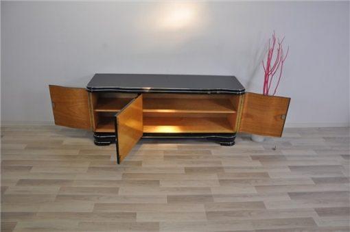 Art Deco Lowboard, Chromgriffe, Klavierlack
