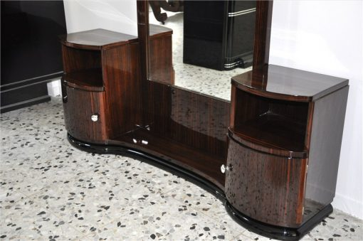 Art Deco Konsole. Kommode, Spiegel, Makassarholz