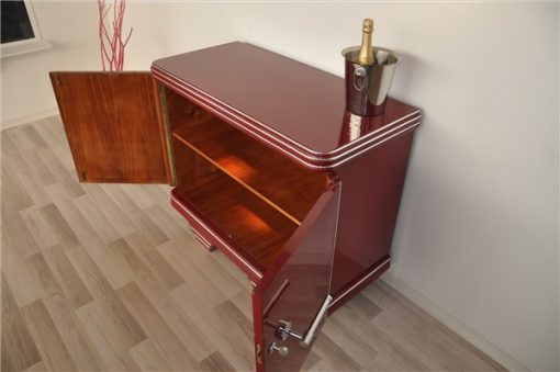 Art Deco kommode, bordeauxrot