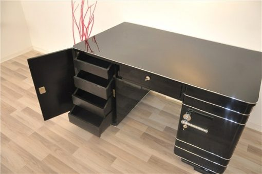 Art Deco Schreibtisch, Chromliner, Hochglanzschwarz