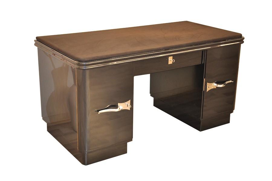 art deco schreibtisch mit grau schwarzer metallic lackierung ebay. Black Bedroom Furniture Sets. Home Design Ideas