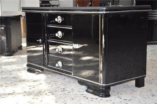 Art Deco Kommode, Lederplatte, Schubladen