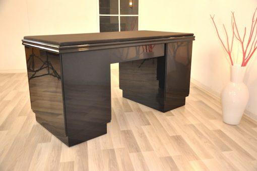 Art Deco Schreibtisch, Metallic Lackierung, Alcantara
