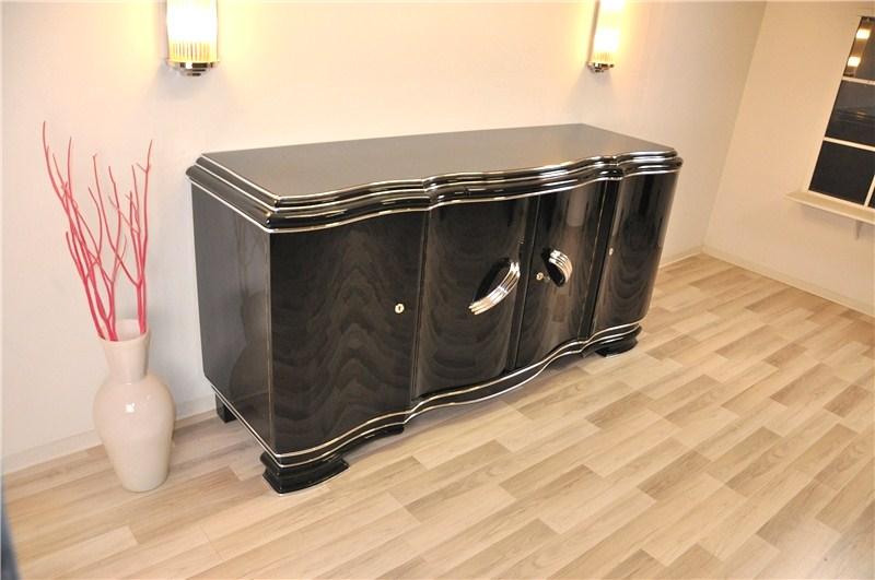 Xxl buffet art d co de belgique en noir brillant ebay - Buffet bas noir laque ...
