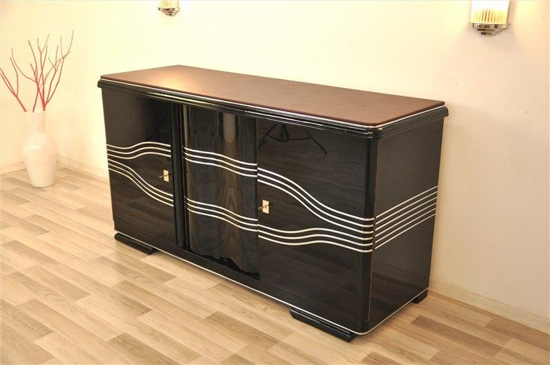 au ergew hnliches art deco sideboard mit lederplatte original antike m bel. Black Bedroom Furniture Sets. Home Design Ideas