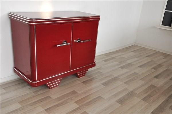 kommode art deco in bordeauxrot original antike m bel. Black Bedroom Furniture Sets. Home Design Ideas