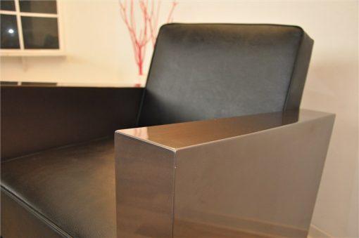 Art Deco Sessel, schwarzes Leder, toller Silberton
