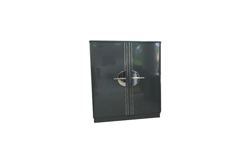 Art Deco Chromliner Schrank Grau Metallic - Original Antike Möbel