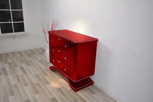 Art Deco Kommode, MEtallic Rot, geschwungener Fuß