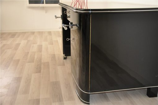 Art Deco Schreibtisch, Klavierlack, sauberes Innenleben
