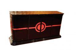 Art Deco Sideboard, rotes Innenlben, Eyecatcher