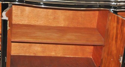 Hochglanzschwarzer Klavierlack,Massive Chromgriffe,4 Geschwungene Türen,Belgien 1929,Viel Stauraum