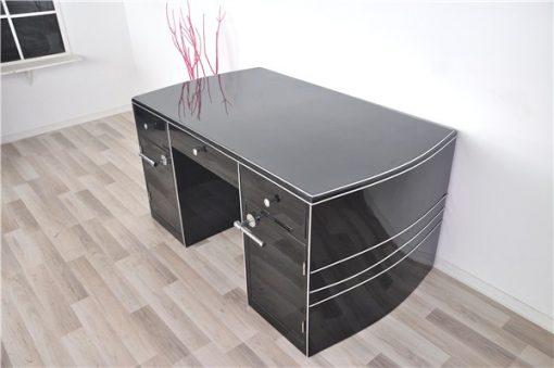 Art Deco Schreibtisch, geschwungene Form
