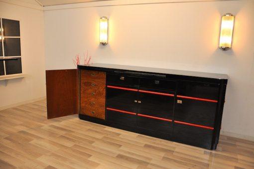 Art Deco Sideboard, Londoner Hotel, Hochglanzschwarz