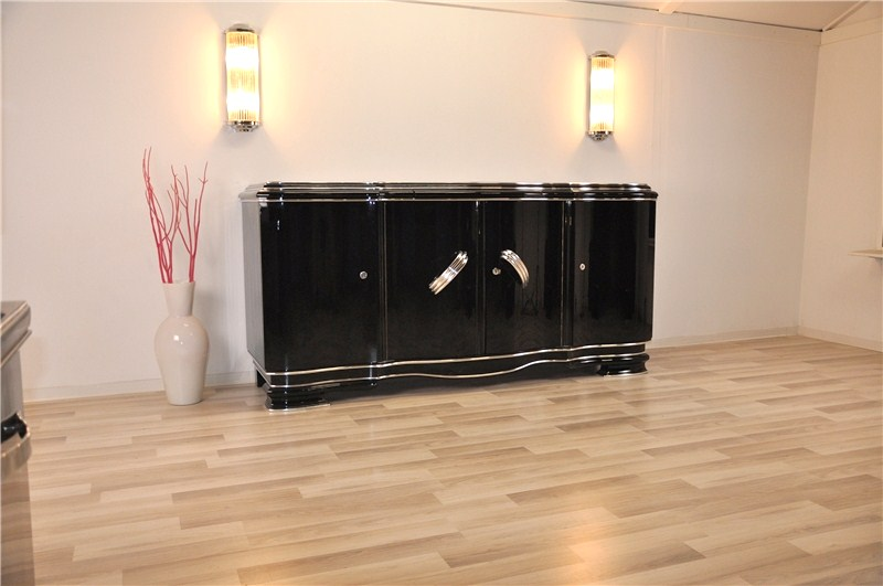 xxl art deco sideboard aus belgien in hochglanzschwarz original antike m bel. Black Bedroom Furniture Sets. Home Design Ideas