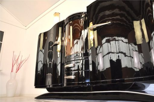 Wundervolles Art Deco Sideboard, gewölbte Glastür