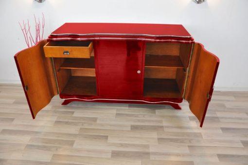 Art Deco Sideboard, MEtallic Rot, Chromlinien