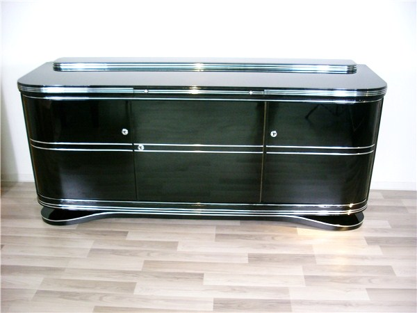 art deco sideboard with make chrome ebay. Black Bedroom Furniture Sets. Home Design Ideas