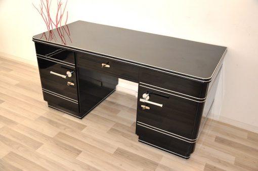 Art Deco Schreibtisch, Chromliner