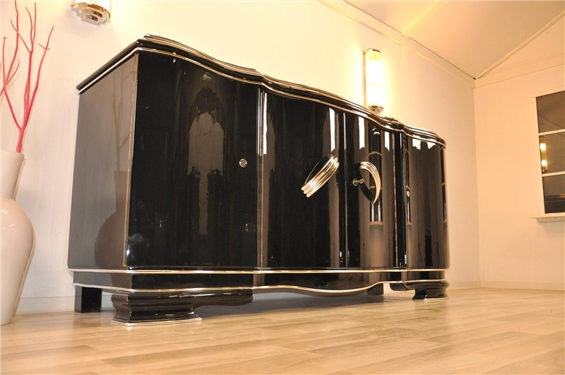 xxl buffet art d co de belgique en noir brillant ebay. Black Bedroom Furniture Sets. Home Design Ideas