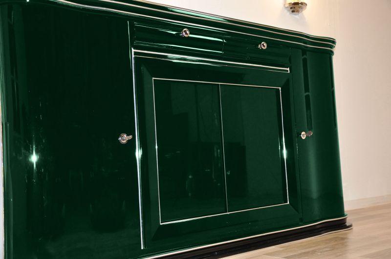 elegantes britisches sideboard 1932 in hochglanz gr n ebay. Black Bedroom Furniture Sets. Home Design Ideas