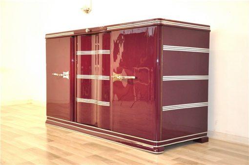 Art Deco Sideboard, Fleider, Chromgriffe