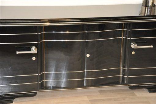 Art Deco Sideboard XXL, hochglanzschwarzes Finish
