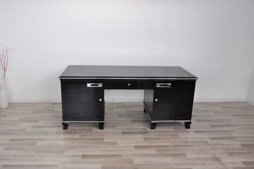 Art Deco Schreibtisch, hochglanzschwarz