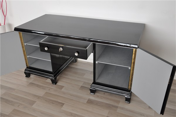 klassischer art deco schreibtisch ebay. Black Bedroom Furniture Sets. Home Design Ideas