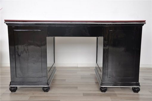 wundervolle Lederplatte in Bordeauxrot, einzigartiges Design, Frankreich 1928, abschliessbare Türen und Schubladen, einzigartiges Möbelstück