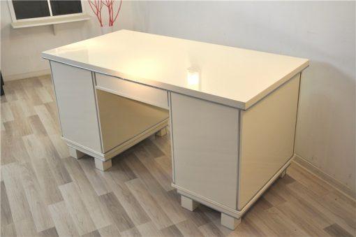 Klassischer Art Deco Schreibtisch, Hochglanzweiß