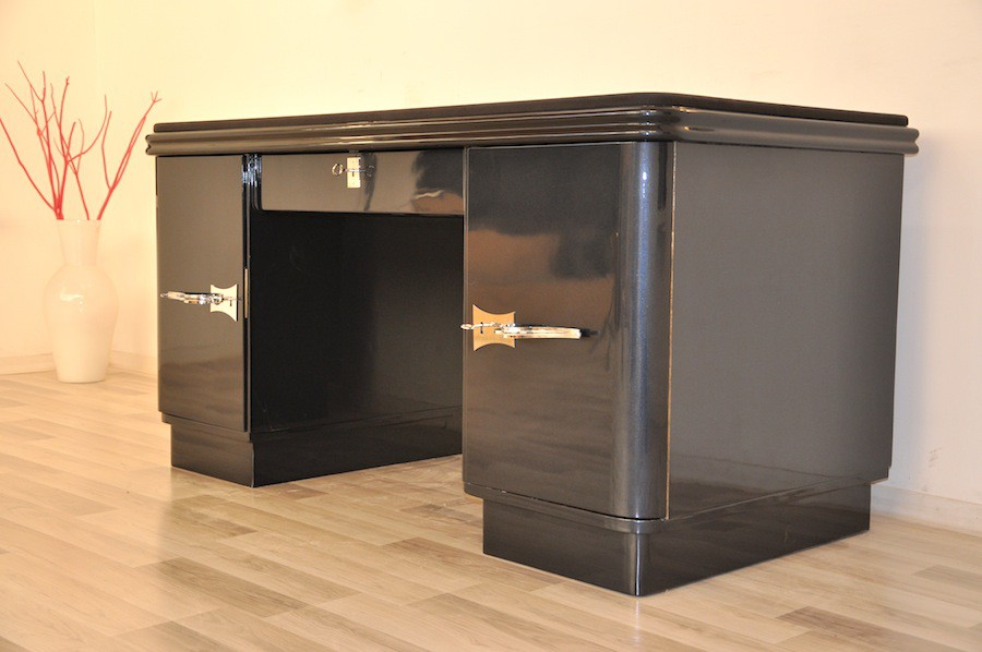 art deco schreibtisch mit grau schwarzer metallic. Black Bedroom Furniture Sets. Home Design Ideas