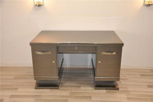Art Deco Schreibtisch, Metallicgrau, Chromgriffe