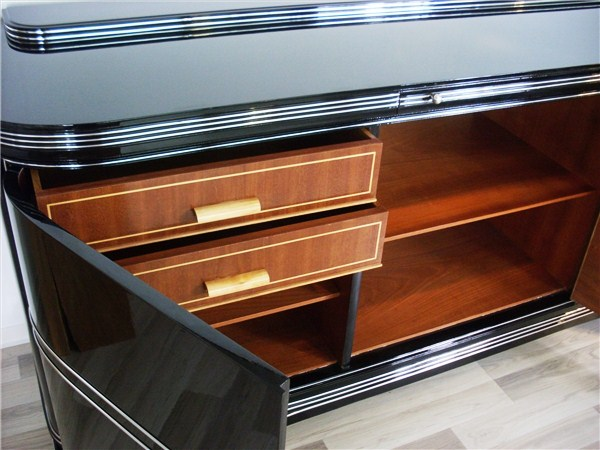 art deco sideboard mit chromleisten original antike m bel. Black Bedroom Furniture Sets. Home Design Ideas