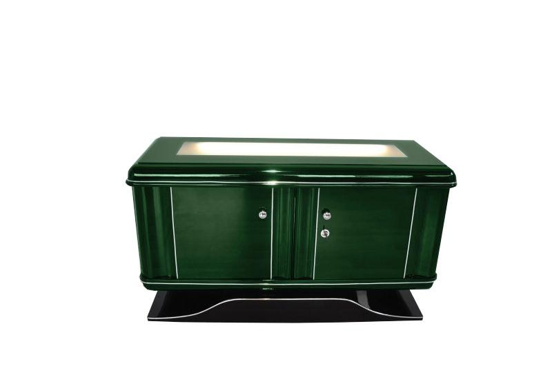 Art deco kommode jaguar racing green beleuchtet ebay - Kommode beleuchtet ...