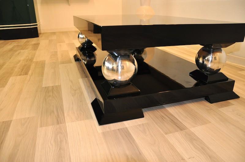 art deco coffee table with wonderful chrome feet ebay. Black Bedroom Furniture Sets. Home Design Ideas