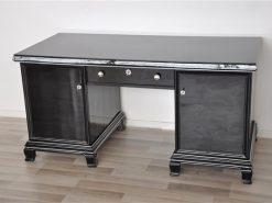 Art Deco Schreibtisch, Hochglanzschwarz, Klassisches Design