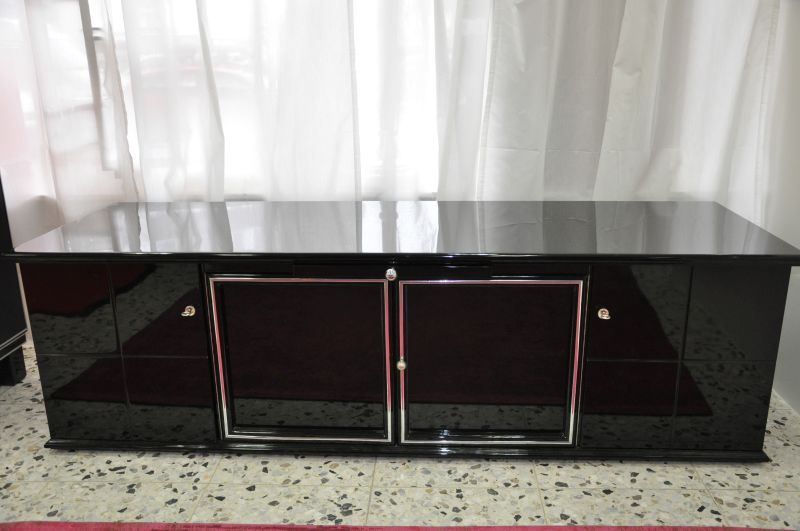 schwarzes art deco lowboard klavierlack mit glas einlegeb den ebay. Black Bedroom Furniture Sets. Home Design Ideas