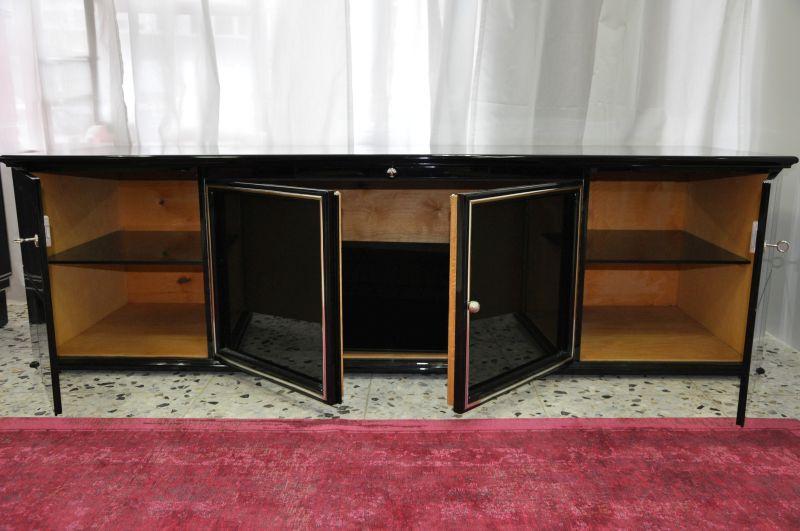 schwarzes art deco lowboard klavierlack mit glas. Black Bedroom Furniture Sets. Home Design Ideas