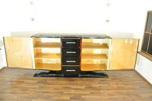 Art Deco Sideboard, Hochglanz Lackierung ( Innen & Außen ), Franz. Fuss, Lacobellplatte, 4 große Schubladen, Flügeltüren in Wellenform