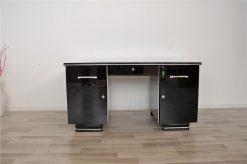 Art Deco Schreibtisch, Klavierlack, Chromleisten
