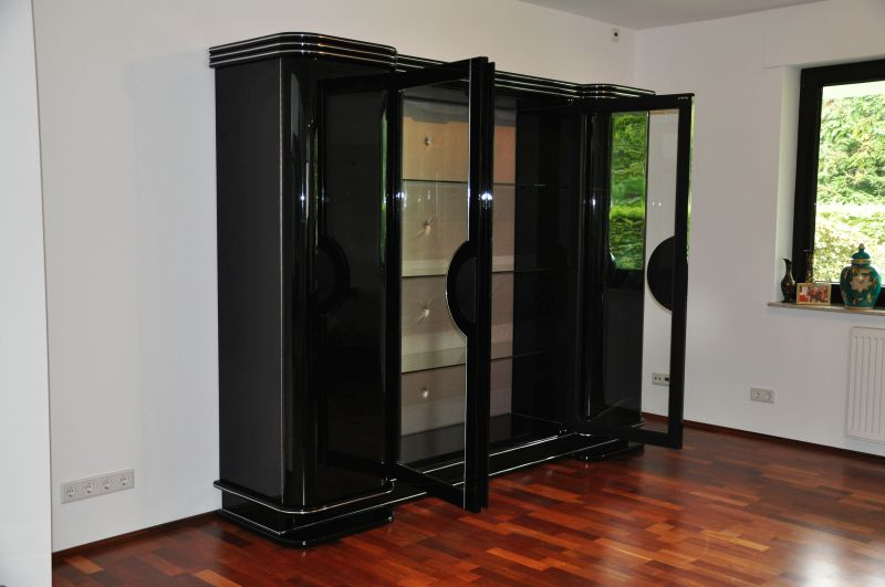 art deco schrank paris in hochglanzschwarz ebay. Black Bedroom Furniture Sets. Home Design Ideas