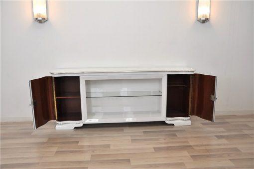 Art Deco Lowboard, Hochglanzweiß