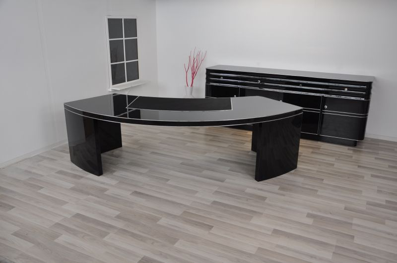 style ancien bauhaus bureau de direction xxl avec semi circulaire forme ebay. Black Bedroom Furniture Sets. Home Design Ideas