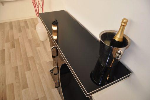 Art Deco Schubladenkonsole, Hochglanzschwarz