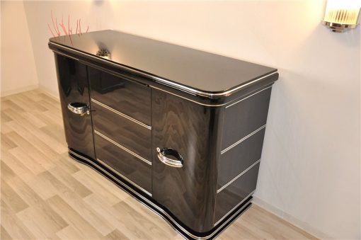 Art Deco Sideboard, Chromliner, Klavierlack