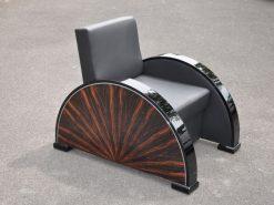 Art Deco Sessel, palisanderholz, Sternfurnier