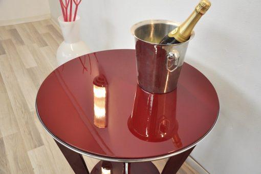 Art Deco Beistelltisch, Weinrot