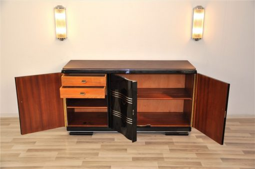 Art Deco Sideboard, Lederplatte, Chromleisten